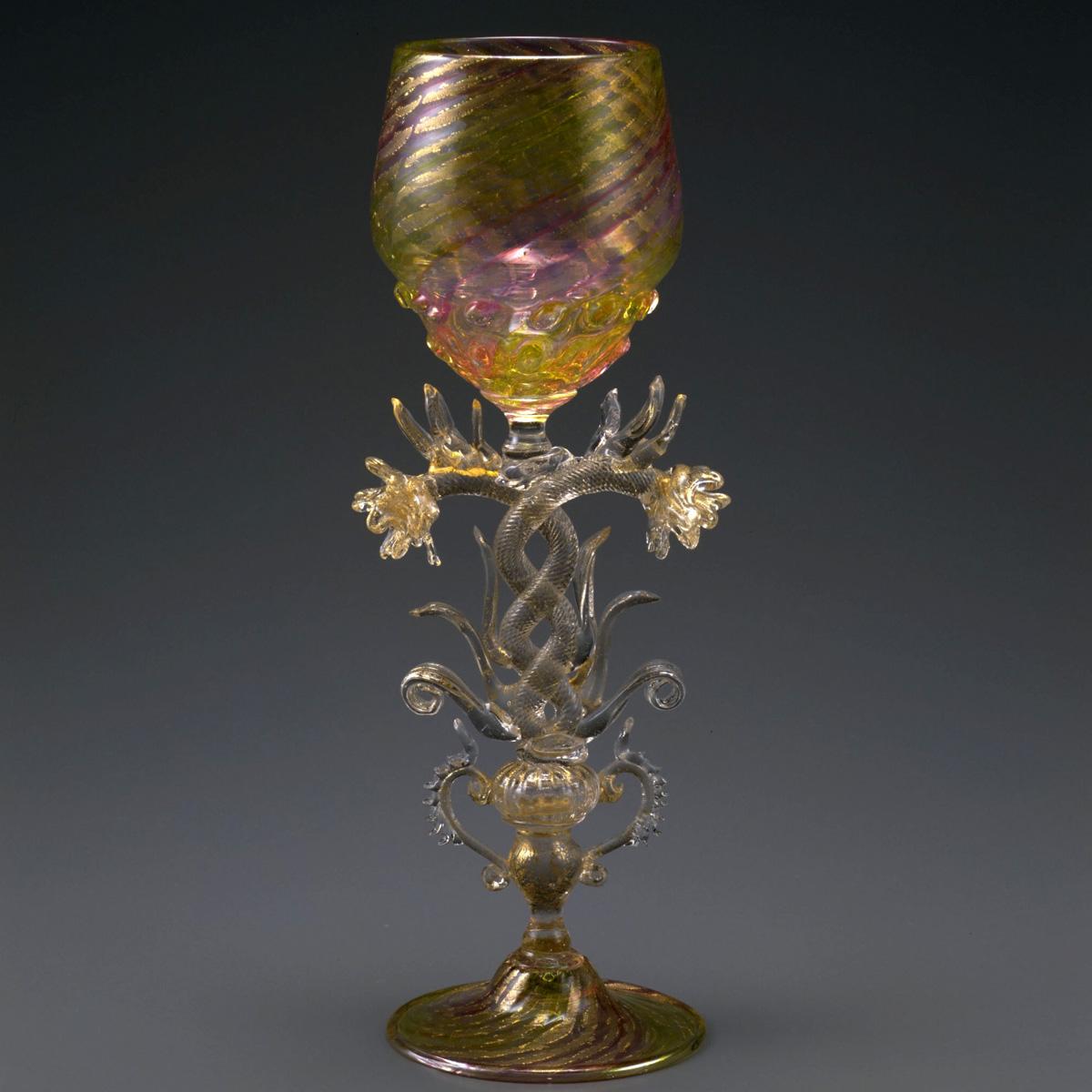 バラ装飾脚ワイングラス (19世紀|ヴェネチア)